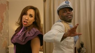 Debbie Kurup (Vivika Orsonwelles) and Cedric Neal (George Murderer) in A Killer Party