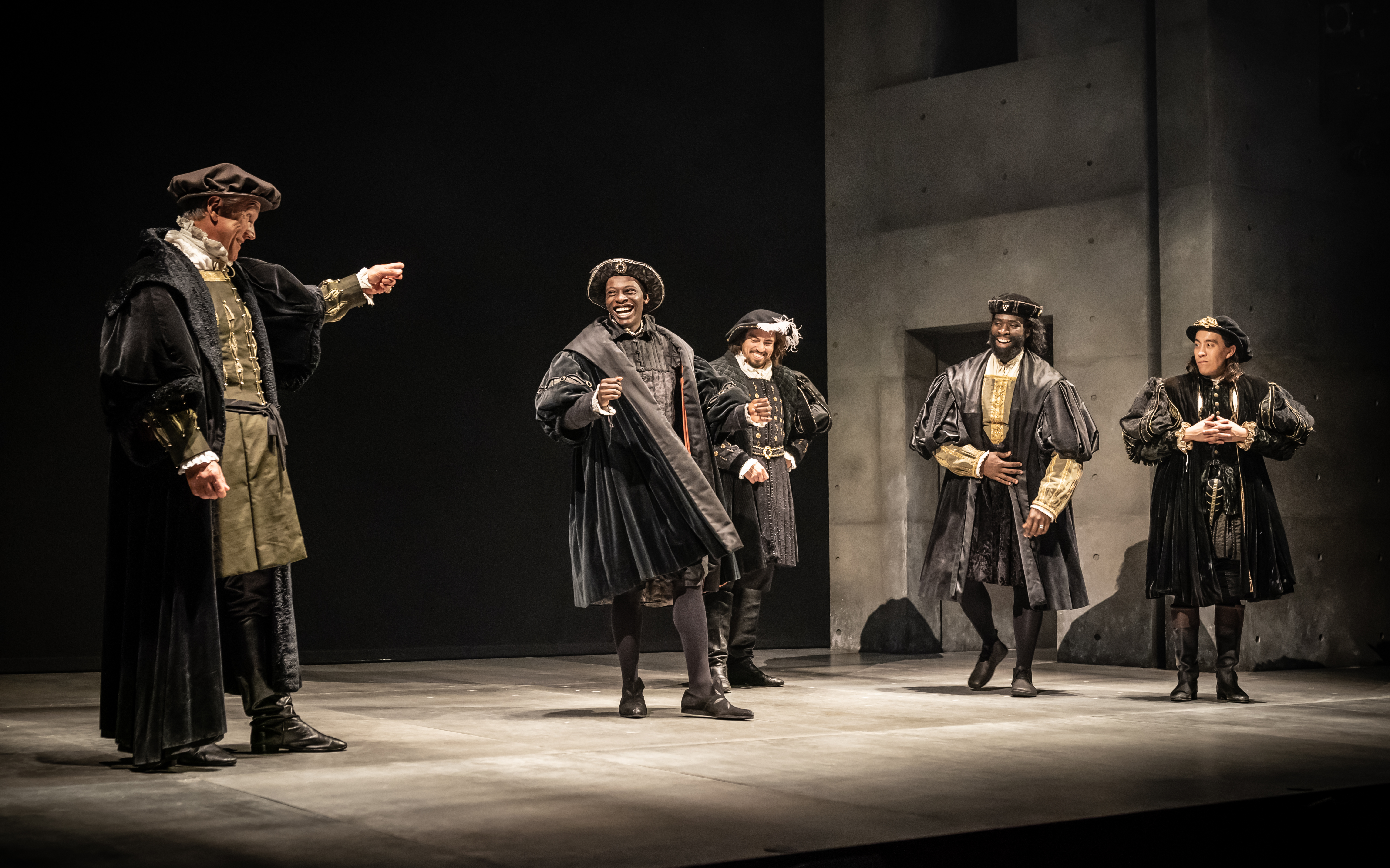 Ben Miles as Thomas Cromwell, Terique Jarrett as Gregory Cromwell, Geoffrey Lumb as Thomas Wriothesley, Jordan Kouamé as Rafe Sadler and Leo Wan as Richard Riche in The Mirror and the Light – Photo by Marc - Copy