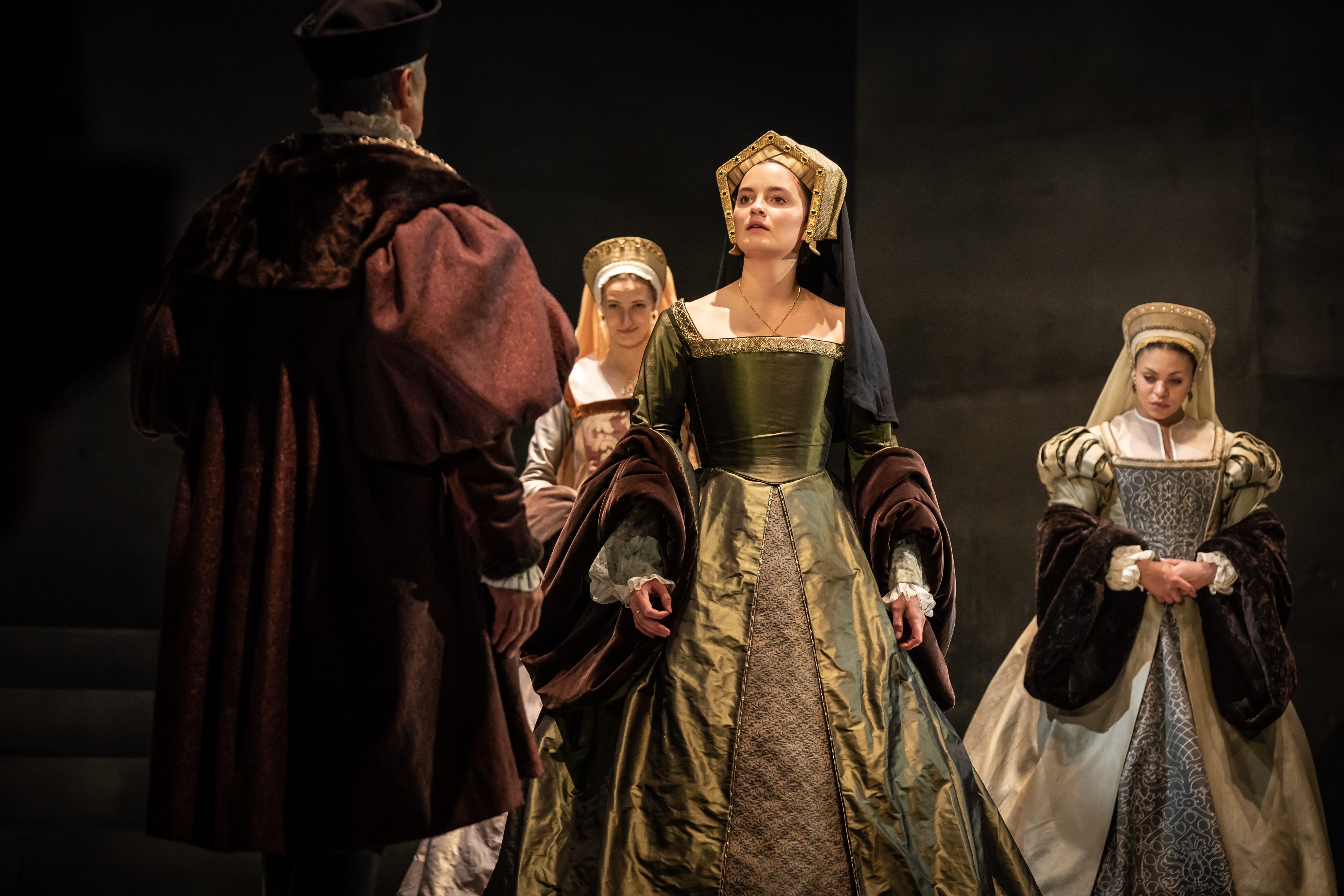 Rosanna Adams as Anna of Cleves (Centre) and Company in The Mirror and the Light - Photo by Marc Brenner